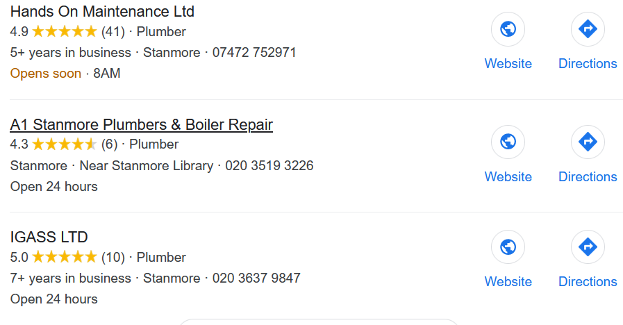 plumbers in Stanmore