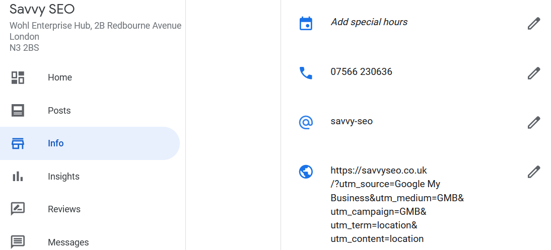 UTM code in Google My Business
