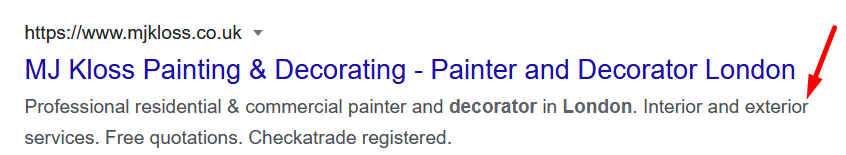 meta description of a listing on google search results