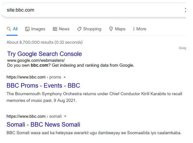 Google results using site command